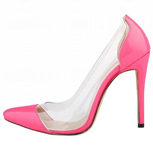 HooH Women's High Heel Pointed Toe Transparent Wedding Pumps Peach