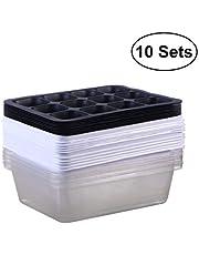 Bestomz - Juego de 10 bandejas de germinación, bandejas de plantación de semillas, bandejas de cultivo de cultivo de cultivo - cultivador de trigo sano (12 cajas de germinación)