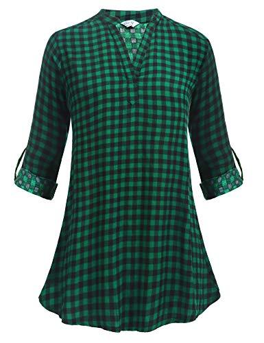 Zeagoo Women's Buffalo Check Plaid Shirts Long Casual Boyfriend Top Tartan Blouse,Green and Black£¬L ()