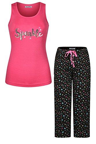 oidery Cotton Pajama Set Jersey Racerback Tank Top with Capri Pants Set Hot Pink Black S ()