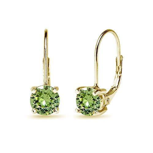 Yellow Gold Flashed Sterling Silver Light Green Round-cut Leverback Earrings Made with Swarovski Crystals