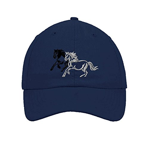 Speedy Pros Cotton 6 Panel Low Profile Hat Animal Running Horses Embroidery Navy