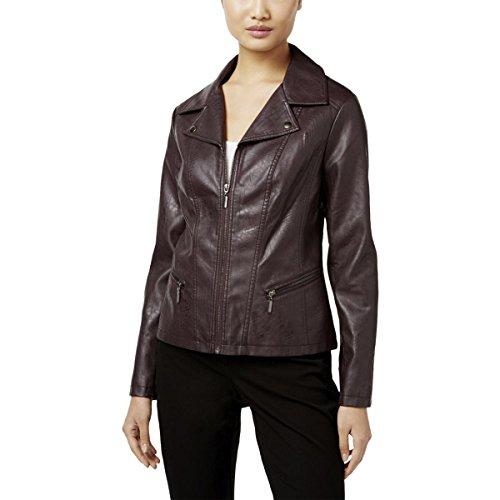 Alfani Womens Faux Leather Long Sleeve Moto Coat Purple M (Alfani Womens Jacket)