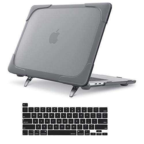 MOSISO MacBook Pro 16 inch Case 2019 Release A2141 with Touch Bar & Touch ID, Heavy Duty Plastic Hard Shell Case with Fold Kickstand & Keyboard Cover Skin Only Compatible with MacBook Pro 16 inch,Gray