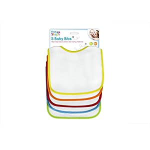 First Steps Bib Set (White with Multicoloured Trims, Pack of 5)