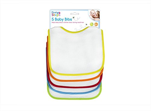 First Steps Bib Set (White with Multicoloured Trims, Pack of 5) FS373