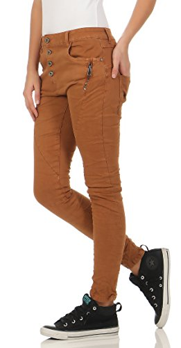 Stretch Femme Marron Look Button Pantalon Jeans Front Dtruit Jeans Baggy Lexxury 9 Boyfriends Denim L1808 xwSE44