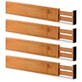 Bamboo Large Drawer Dividers Organizer - Spring Adjustable & Expandable Organizing Dividers for Kitchen, Dresser, Bedroom, Baby Drawer, Bathroom, and Office (Set of 4)