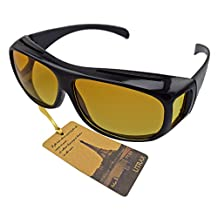 Utrax Clear View Vision UV protection Wraparound Driving Glasses Sunglasses Black Yellow Lens Fits Over Eyeglasses (Yellow for night)
