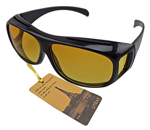 Utrax Clear View Vision UV Protection Wraparounds Driving Glasses Sunglasses Black Yellow Lens Fits Over Eyeglasses (Yellow for - Around Hd Sunglasses Vision Wrap