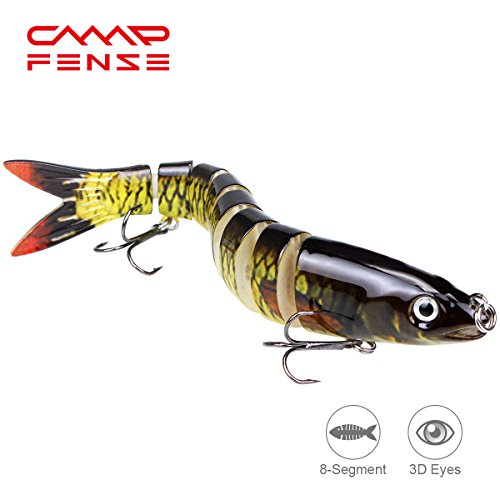 CampFENSE Fishing Lure Bait, 8-segment, 3D Eyes, Extra-Large, Tackle 6# High Carbon Steel Anchor Hook 4 Color Options 5.23Inch/0.67Oz (D)