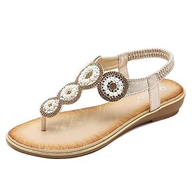 Damen Sommer Sandalen Strass Böhmen Strand Clip Toe Niedrigem Absatz T-Strap Schuhe, Schwarz, 35