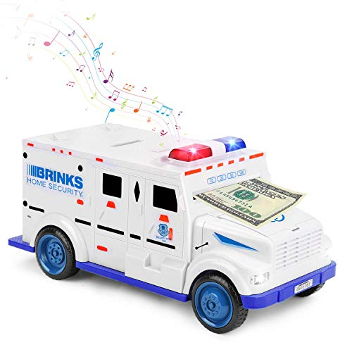 Jhua Electronic Piggy Bank, Mini ATM Coin Piggy Bank Code Password Lock Saving Box Great Cool Armored Cash Car Gift Toys with Music & Auto Scroll Paper for Boys Girls Kids Children - White