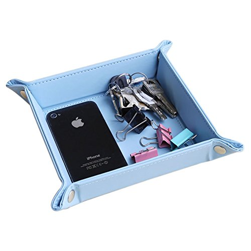 5 Travel Valet Tray - KINGFOM™ Home Desktop Decorative Colloction Leather Valet Tray for Jewelry, Key, Phone, Coin Change Bedside Storage 6.5