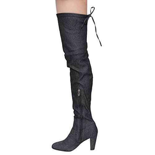 Block Boots ROBBIN Drawstring Heel Over Denim Womens The Black FE68 High Knee CAPE azAwdqPxz