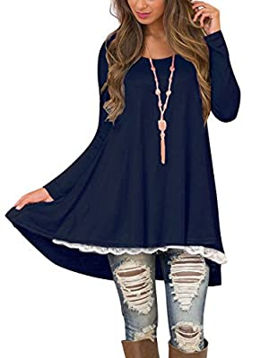 Women's Long Tunic Shirts for Leggings Lace Tunic Dresses with Sleeve