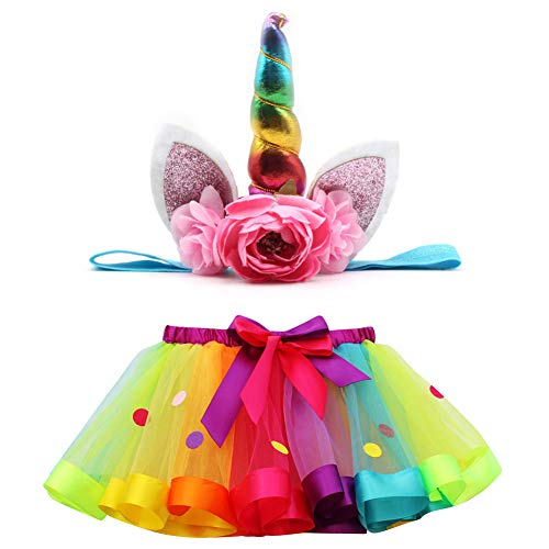 JYUAN Rainbow Tulle Tutu Skirt for Kids Baby Girls with Unicorn Headband Halloween Party Dress up Birthday -