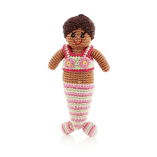 (Pebble | Handmade Mermaid Doll—Pink Striped| Black Doll | Crochet | Fair Trade | Pretend | Imaginative Play | Beach | Machine Washable)