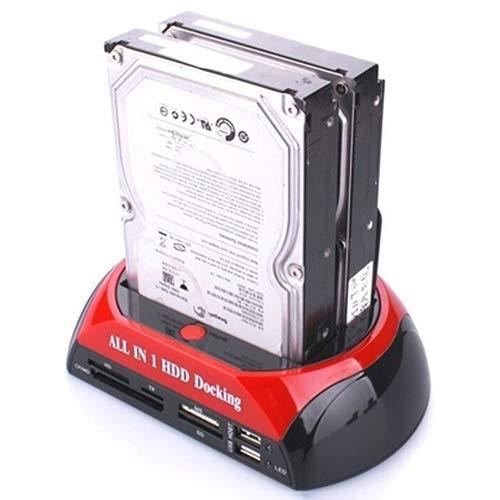 Shentesel IDE SATA Twin Dual Docking Station Clone USB HUB Reader External HDD Enclosure