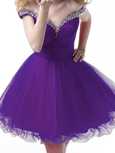 Tulle Prom Purple Dresses Party The BessDress BD354 Homecoming Dresses Short Off Shoulder Beaded Wfw7F87YqO