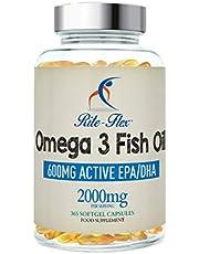Omega 3 Huile de poisson 2000mg 365 Soft Gel Capsule de Rite-Flex