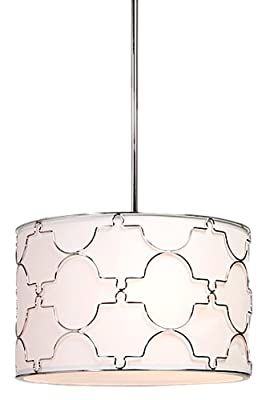 Artcraft Lighting SC643 Morocco 3-Lite Circular Light Fixture, Chrome with White Linen Shade