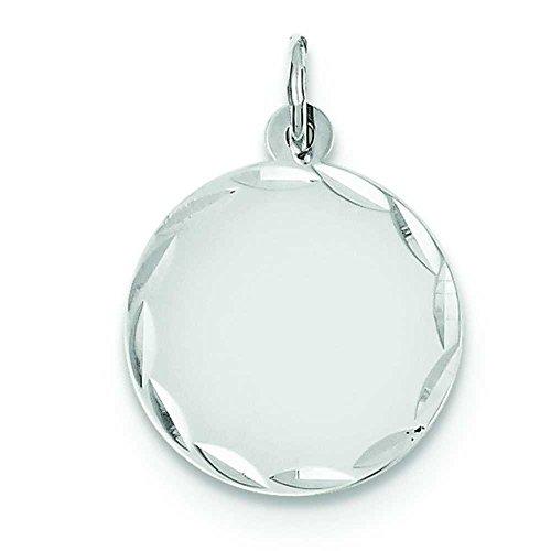 (14k White Gold Etched Design .027 Gauge Engravable Round Disc Charm Pendant)