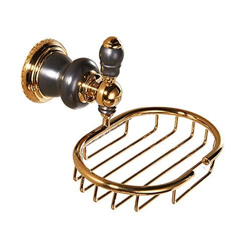 (ZH Shower Caddies Wall Mount Soap Dish Holder with Drainage, Elegant Brass Bathroom Kitchen Shower Soap Basket Soap Net, Luxury Bathroom Accessories)