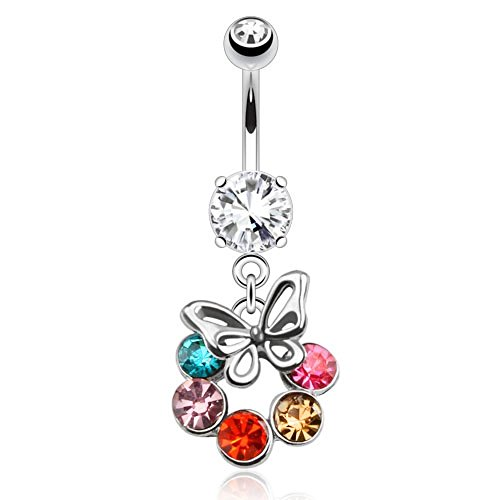 Dynamique Butterfly Dangle with Multi Colored CZ Gems Circle Navel Ring