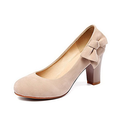 BalaMasa Womens Metal Bowknot Round-Toe Nude Frosted Pumps-Shoes - 7.5 B(M) - And Round Brown Nude