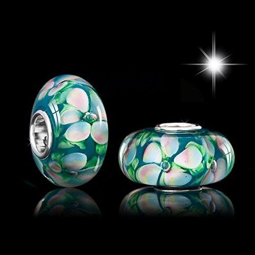MATERIA 'gardenie'murano de perles blanc vert, perles et fleurs pour bracelets à perles européennes livrée bracelet#1126