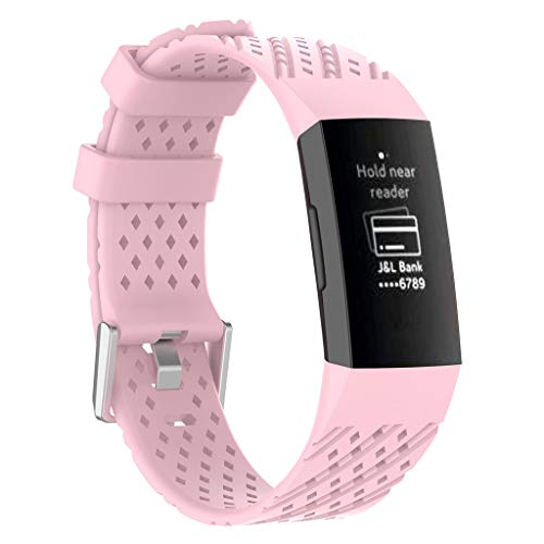 Haluoo Silicone Sport Bands Compatible with Fitbit Charge 3 Women Men, Soft Breathable Sport Replacement Strap Wristband Accessories, Black White Gray Pink Green Sky Blue Purple (Pink)
