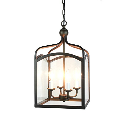 4-light Antique Bronze Glass Lantern Pendant Chandelier