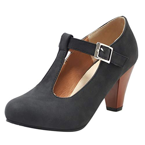 Aubbly Women's Fashion High Heel Shoes Comfort One-Word Buckle Ankle Round Toe Sexy Stiletto Dress Shoes Black