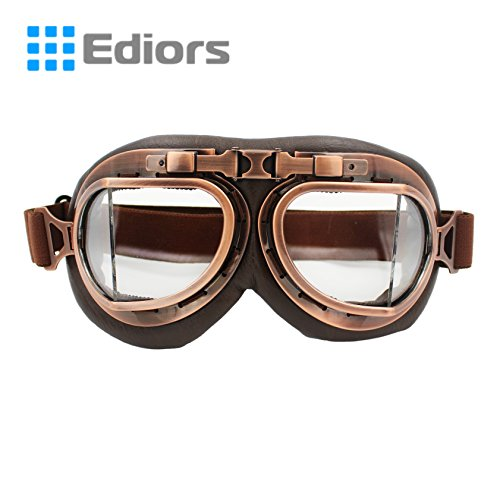 Ediors® Vintage Style WWII RAF Pilot Flying Motorcycle Biker Motocross Cruisers Sun UV Wind Eye Protect Helmet Goggles (Copper Frame, Clear (Wwii Raf Pilot Costume)