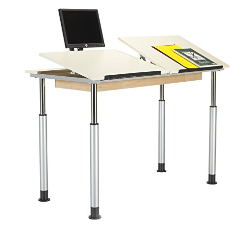 (Diversified Woodcrafts ALTD3-6030 Adjustable Leg Drafting Table, Double Station, 28-42