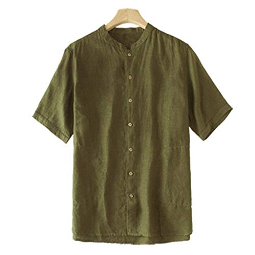 (Toimothcn Men's Polo T-Shirts Short Sleeve Stand Collar Beach Top Linen Shirts(Army Green,M))