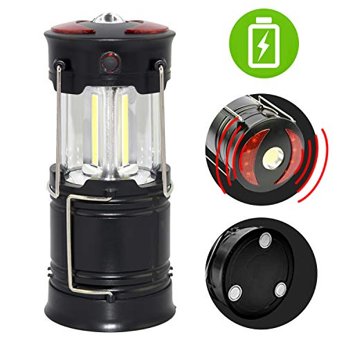 Rechargeable Lantern Flashlight,ISWIM Portable LED Camping Hanging Lamp with Built-in 2000mAh Li-ion Battery,4 light Mode,Red Light, for Camp,Tent, Hurricane, Outages, Support AA Battey(Not Included)