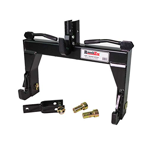 RanchEx 102851 Quick Hitch, Adjustable Top Bracket, Cat 1, Includes Top Pins and Adapter Bushings