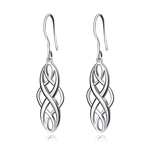 Sterling Silver Celtic Knot Twist Dangle Drop Earrings Jewellery for Women...
