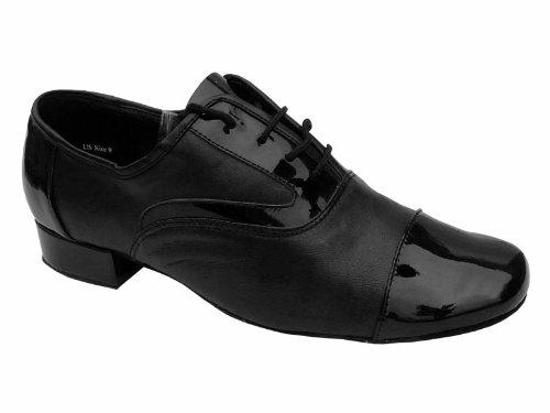 """Männer Ballroom Dance Schuhe für Latin Salsa Tango 916102 Blk Patent & Blk Leder 1 """"Low Heel"""