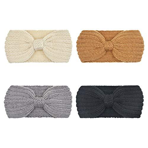 DRESHOW Crochet Turban Headband for Women Warm Bulky Crocheted Headwrap (4 Pack Knot Crochet) (Beanie Hollister)