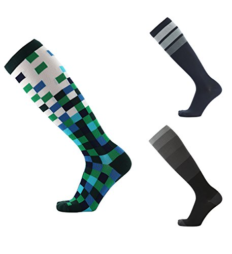 Knee High Compression Socks for Men & Women - Graduated 20-30 mmHg - Perfect for Athletes, Nurses, Flying, Maternity - Boosts Circulation + Recovery (L/XL (Women 8-15.5; Men 8-14) [1 Pair], Pixels)