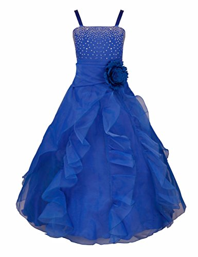 FEESHOW Girls Organza Flower Princess Dress for Wedding Pageant Party Ball Gown Blue - Pageant Dress Blue Girl Flower