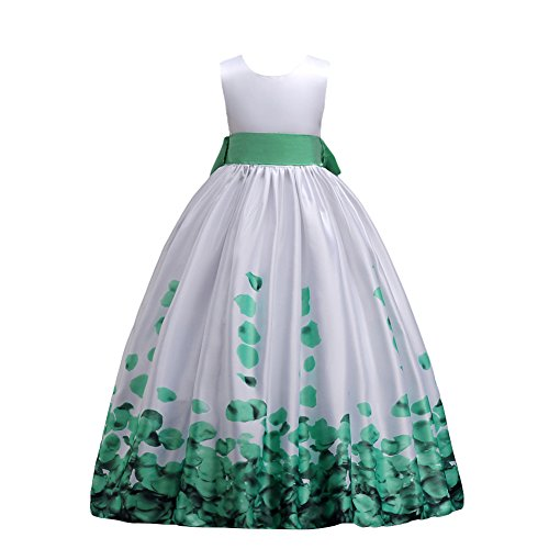 Off Shoulder Taffeta - IBTOM CASTLE Flower Decorated Off Shoulder Taffeta Flower Girl Dress Green Aqua 6-7 Years
