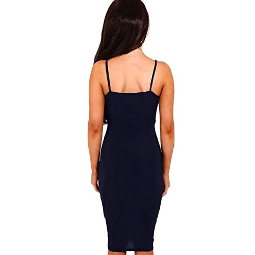 Bandage Wrap Manches Robe Spaghetti Club Robe Sangle Profonde DRESHOW Blue Moulante Femmes V sans Sexy Dark Nuque Slit Avant Midi Axg6qw7p