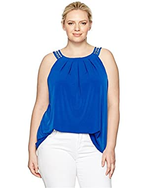 Calvin Klein Women's Plus Size Halter Top with Studs