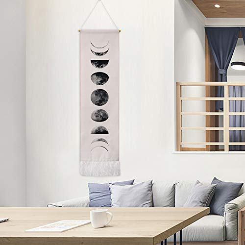 "Martine Mall Tapestry Wall Hanging Tapestries Nine Phases of The Full Growth Cycle of The Moon Wall Tapestry Cotton Linen Wall Art, Modern Home Decor (White Moon Phase Change, 12.99"" x 52.75"")"