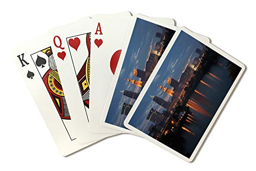 Cleveland, Ohio - Cleveland Skyline at Dusk - Photograph A-92983 (Playing Card Deck - 52 Card Poker Size with Jokers)
