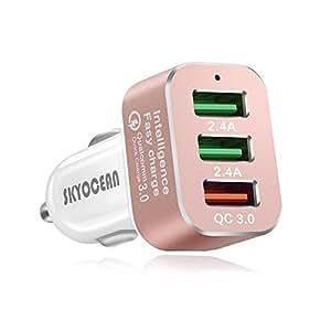 Cargador Del Coche USB Del Teléfono Con QC3.0 Carga Rápida 42W 3 Puertos Mini Adaptador Encendedor De Cigarrillos Para IPhone X 8 7 6s Plus Samsung ...